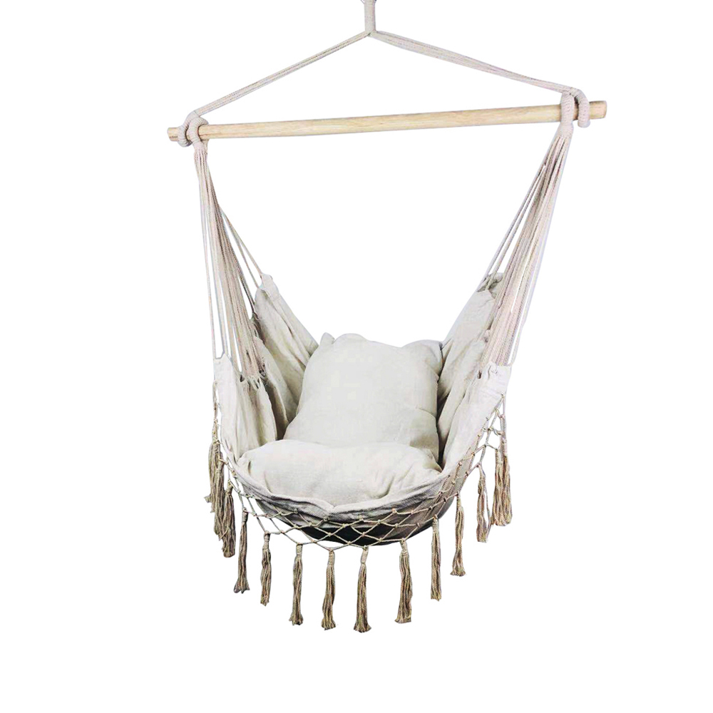 Nordic Style Tassels Hanging Swing Hommock Lounge Rocking Chair with Cushions Kids Adults Patio Swing Seat