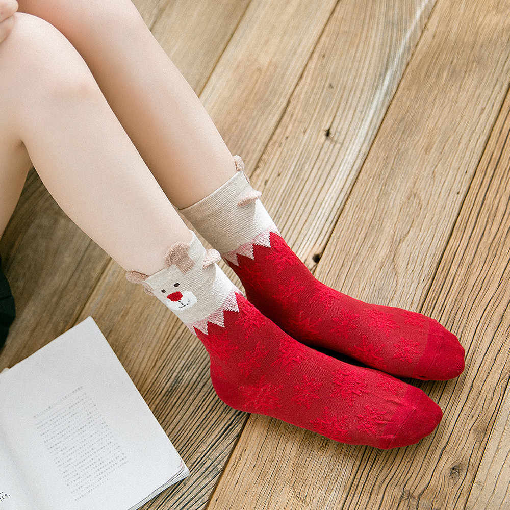 Feitong Christmas Gift Socks Women Ladies Cotton Socks Multi-Color Printed Women's Winter New Year Christmas Festive Red Sock