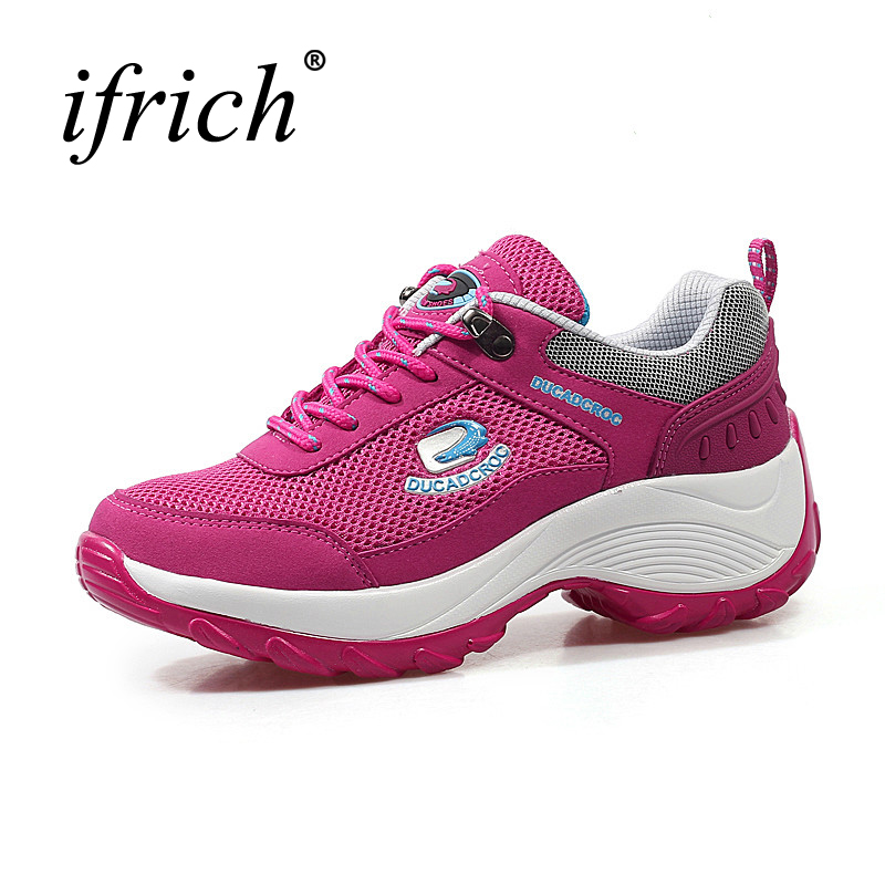 Ifrich Sport Sneakers Women Summer Walking Running Shoes Red Black Women Trainers Mesh Breathable Girls Athletic Shoes Cheap 2017 spring summer running shoes for men brand walking sneakers mesh breathable mens trainers jogging sport shoes cheap zapatos