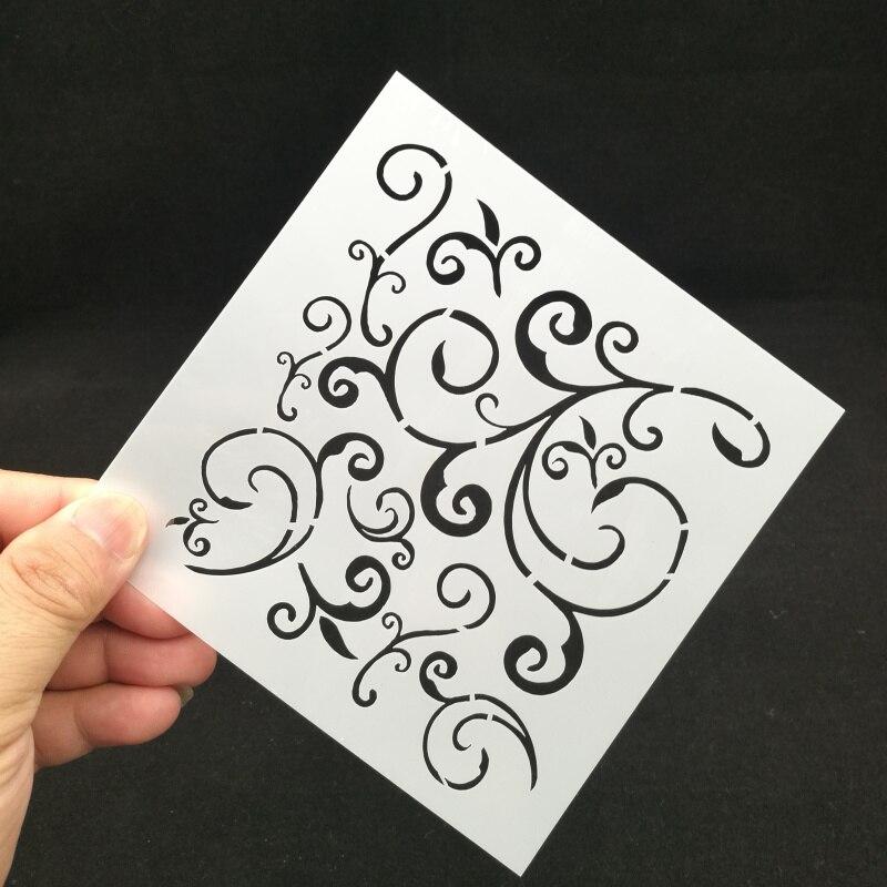 13*13 Flourishes Pvc Layering Stencils For Diy Scrapbook Drawing Color Spray Stencil,painting Stencil,home Decor Diy Etc.