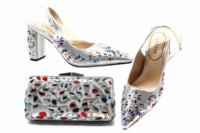 Colorful rhinestones silver shoes and bag for african lady to match lace dress 3.15 heel sandal shoes and clutches bag SB8387 5