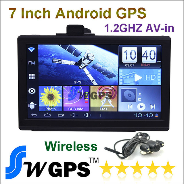 7 Inch Car GPS Navigator,android4.0, AV IN, Fm transmitter,1.2GHZ,Wifi,512MB,800*480,8GB,free 2014 map,Wireless rear view camera