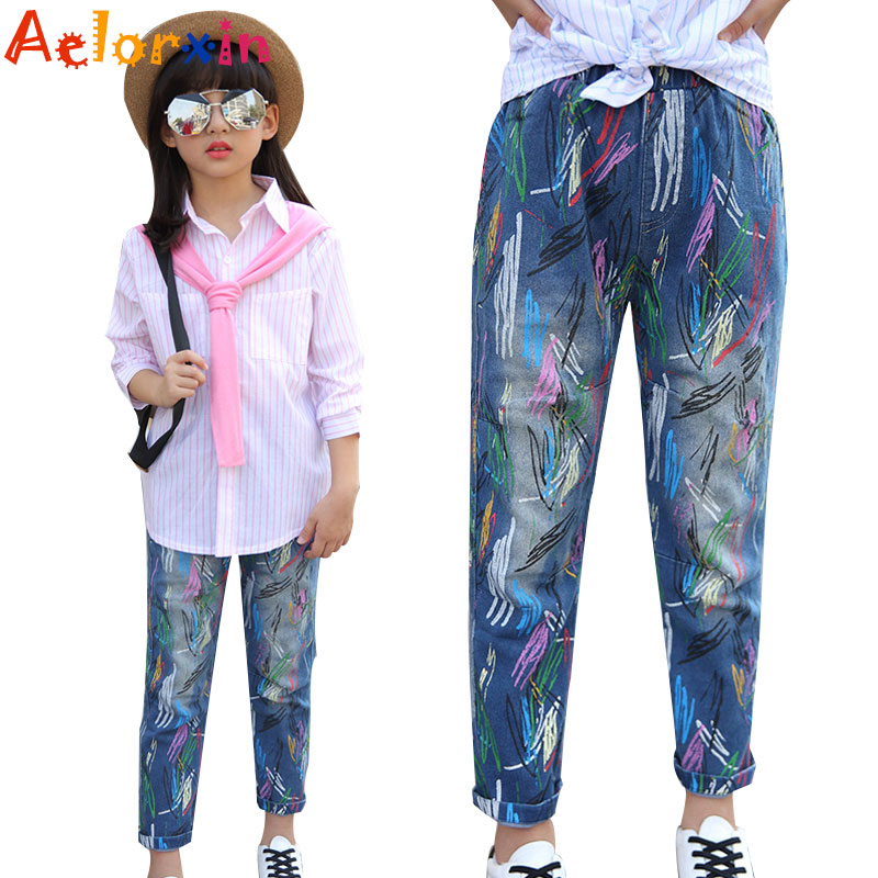 Big Girls Jeans Graffiti Loose Pants For Girls Clothing Elastic Waist Children Denim Trousers 7 9 11 13 15 Years Teenage Clothes girls jeans kids denim pants pencil cotton khaki camouflage mid waist casual children jeans for girls size 9 10 11 12 13 14 year