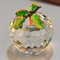 6 cm kryształ apple prezenty ślubne dekoracje nowoczesny oszczędny mody figurki i miniatury domu niebieski/zielony/żółty