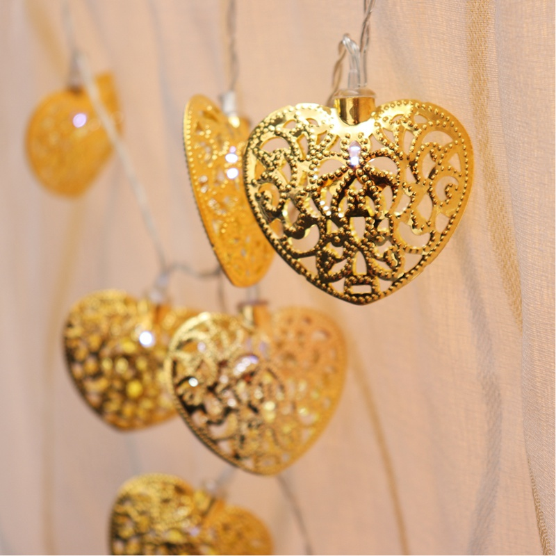 2.2M 20 LED Fairy Lights Battery Operated Metal Heart Shape String For Wedding Party Christmas LED Holiday Light Decoration