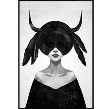 Nordic Gothic Girl in Black Canvas Painting Poster Print Wall Art Pictures For Living Room Bedroom Aisle Dinning Room Studio