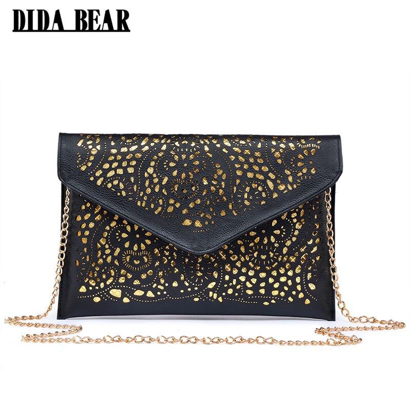 DIDA BEAR CrossBody Hollow Out Messenger Shoulder Bag WOMEN Envelope Bag Lady Clutches Purse with Chain Bolsos Bolsas Sac A Main Сумка
