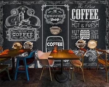 Custom wallpaper 3D wallpaper retro nostalgic hand-painted blackboard coffee shop background wall living room bedroom wallpaper fashion hd europe and america hand painted cosmetics wallpaper shop makeup shop background wall