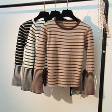 New Korean Women Sweaters Autumn Winter Striped Knitted Pullover  Elatic Sweater Top Long Flare Sleeve Pull Femme Hiver D303 flare sleeve striped sweater