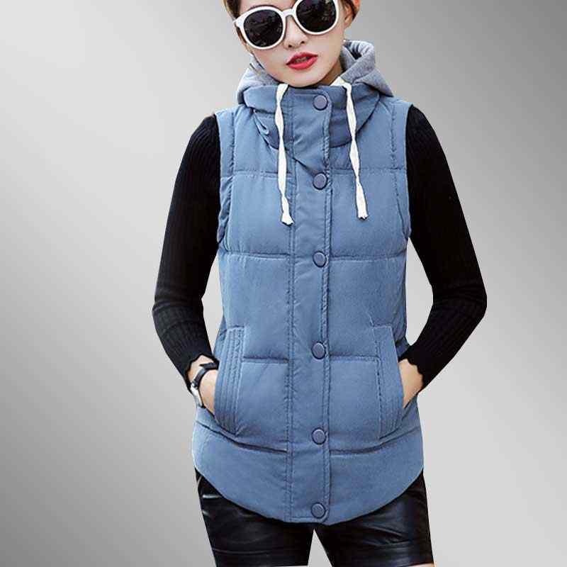 fde4e610d6d 2018 New Fashion Canvas Down Cotton Women Vest Autumn Sleeveless Hoodie  Plus size Short Cotton Jacket