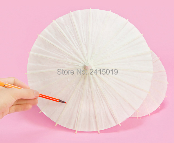 Blank Unpainted Chinese Traditional Craft Oil Paper Umbrella Party Kids DIY Kits Favor School Kindergarten Chiid