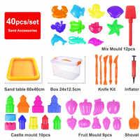 40 teile/satz 60x40CM Keine-mess Indoor Magie Spielen Sand Kinder Spielzeug Aufblasbare Sand Tablett Zubehör Multi form Kunststoff Tisch