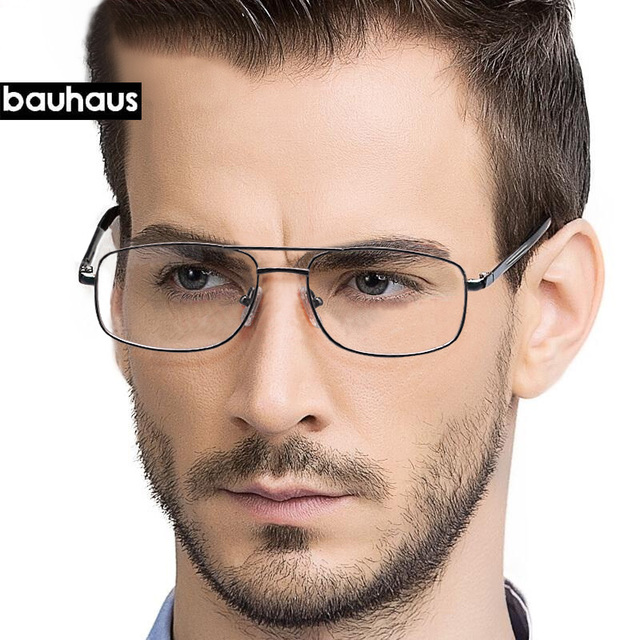 a04a502b95 bauhaus Brand Prescription Glasses Frames Aluminium Magnesium-Alloy Frame  Double Bridge Spectacle Eyeglasses Myopia Glasses