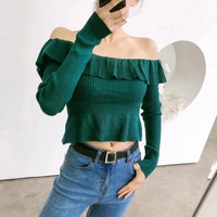 Sexy Women Off Shoulder Top Slash Neck Long Sleeve Ruffles Pullover Sping Slim Blouse Ladies Knitted Sweater Shirt Female Blusas
