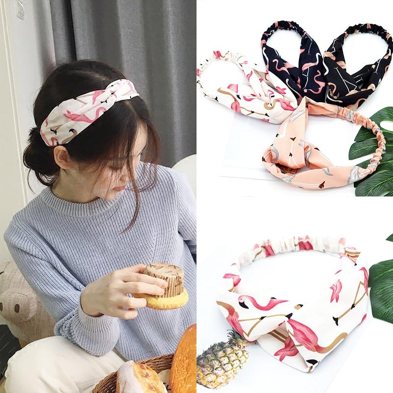 4 Colors Cartoon Flamingo Hair Bands Fashion Korean Cute Sweet Cross Soft Chiffon Hair Accessories For Women