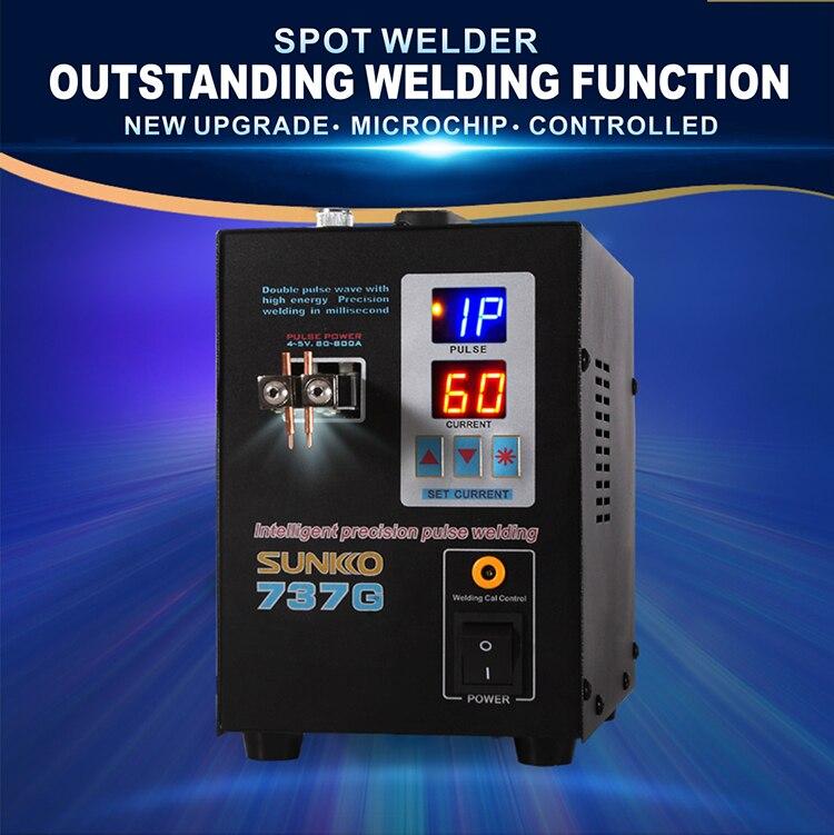 SUNKKO 737G Welding machine fixed pulse welding led light welding machine used 18650 battery pack spot welding 220v/110v