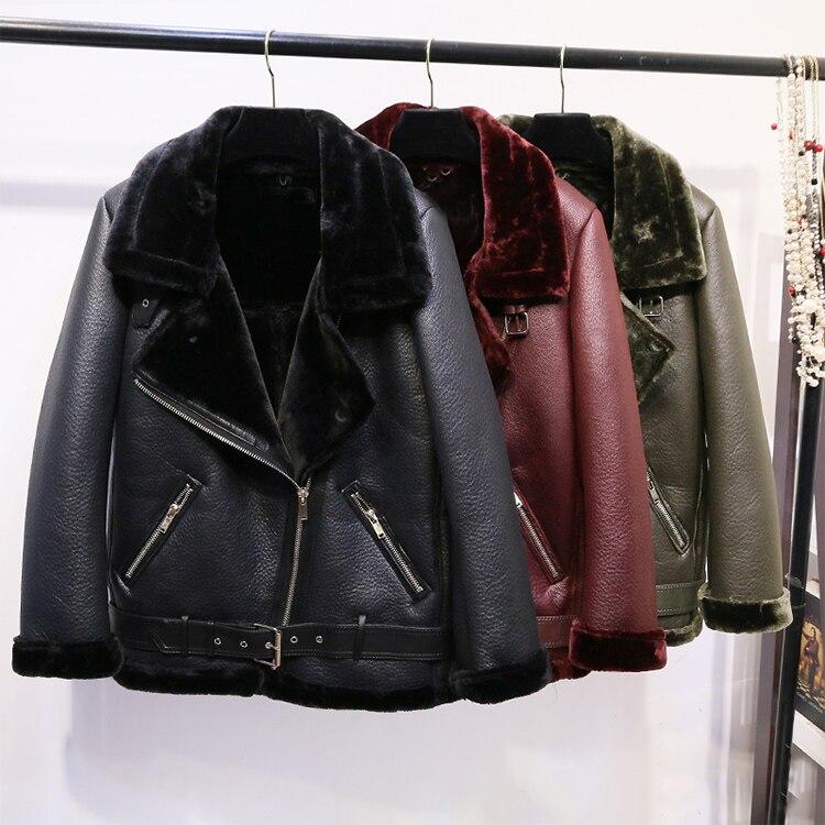2018 Winter Faux   Leather   Oversized Biker Jacket Textured Fleece Lining Lapel Collar Zipped Front Pockets Long Sleeves fur HEM