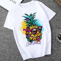 Femmes vêtements 2019 soleil plage ananas drôle esthétique imprimé T-shirt femmes loisirs à manches courtes o-cou T-shirt fruits T-shirt