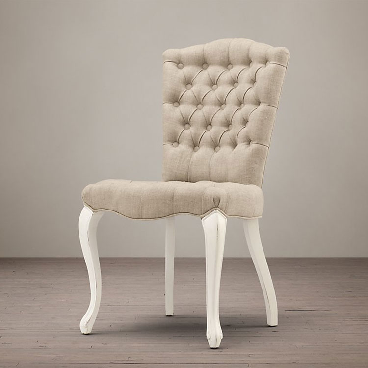 Button tufted dining chair wood white antique finish linen for White fabric dining chairs