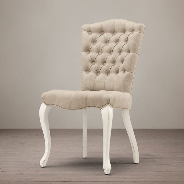 Button Tufted Dining Chair Wood White Antique Finish Linen Fabric Upholstery Room Furniture Wooden