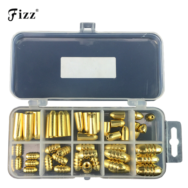 50Pcs/Box Copper Bullet Weights Fishing Sinkers 1.8g/3.5g/5g/7g/10g in Plastic Fishing Accessories Tackle Box 127x60x23mm