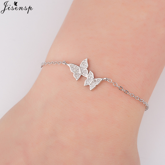 Jisensp Cute Women Beautiful Crystal Butterfly Charm Bracelet For