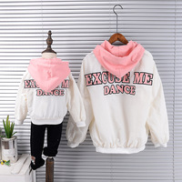 Mother and Kids Outwear Autumn and Winter Letter Good Children Clothes Baby Girl Boy Mom Fashion Jacket Family Matching Outfits