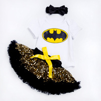 YK & Loving Halloween Paillette Meisjes Babykleding Bat Karakter Gedrukt Bodysuit Geel Sequin Tutu Rokken Gratis Verzending Kleding
