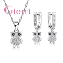 Jewelry-Sets Necklace Silver-Accessories Shiny Earrings Pendant for Ladies Pure Hoop