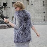 [Rancyword] роскошный Для женщин зимний жилет натуральным лисьим мехом жилет для девочек из натуральной меховой жилет Silver Fox меховой пальто RC1392