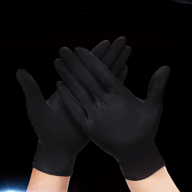 50Pairs/100Pcs Rubber Black Safety Gloves New Disposable Anti-slip Latex Gloves Anti-acid And Alkali Laboratory Working Supplies