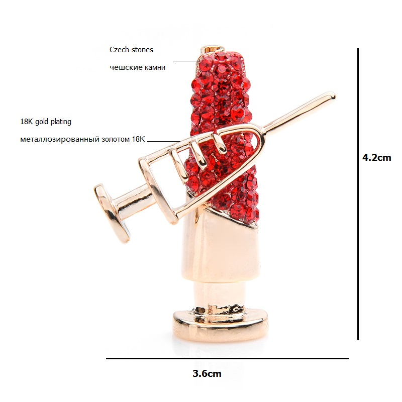 Wuli baby Sparkling Red Czech Rhinestone Needle Tubing Brooches Women Special Alloy Doctor Nurse Suits Brooch Pins in Brooches from Jewelry Accessories