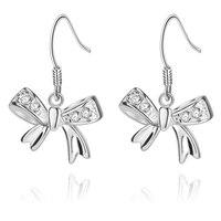 Zircon inlaid bow high quality Silver Earrings for women Wholesale silver earrings /BAOBTWKK USETWZLY