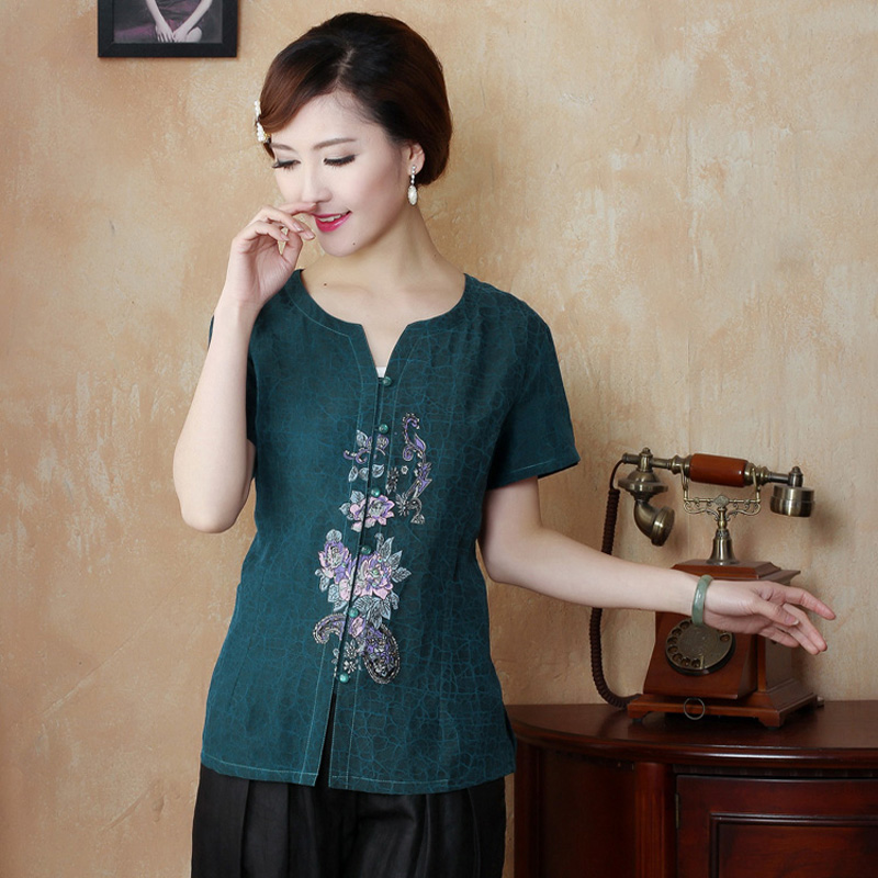 34d1166691c New Blue Women 100% Silk Silkworm Shirt Blouse Blusa Chinese Traditional  Women Buttercup Silk Shirt Tops Mujer Camisa TYR10009-in Blouses   Shirts  from ...