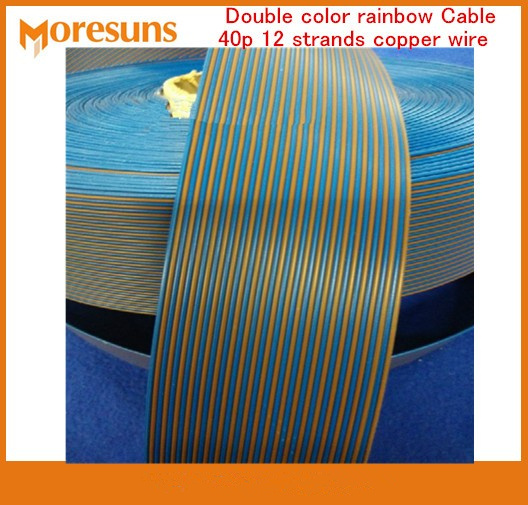 Free Ship By EMS/DHL 50m/lot Double Color Rainbow Cable 40p 12 Strands Copper Wire,outer Diameter 1.4MM Pure Connector Wire