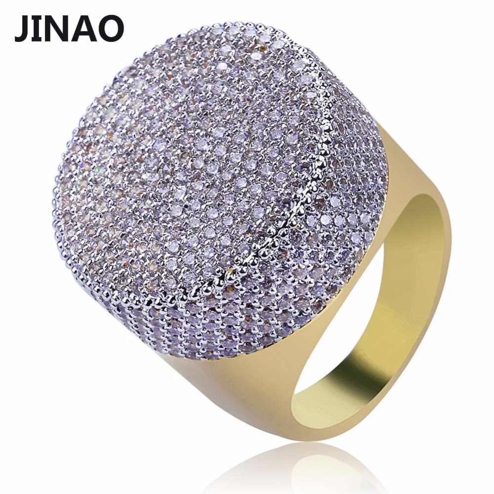 JINAO Gold Color Plated Iced Out Bling Ring Micro Pave Cubic Zircon Round Big Ring Hip Hop Jewelry For Men With 7,8,9,10,11 Size one piece simple gold plated fashion alloy rhinestone ring for men