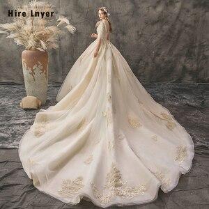 Image 3 - Женское свадебное платье, бальное платье с v образным вырезом, украшенное бусинами и блестками, с золотистой аппликацией, 2020