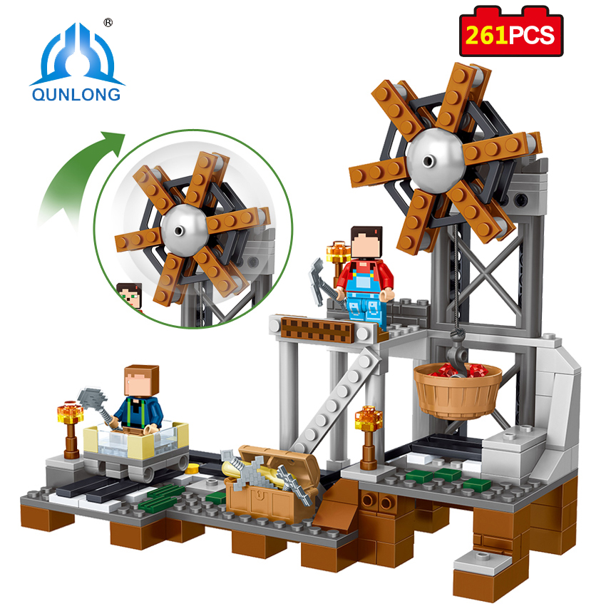 Qunlong Toys MY WORLD Minecrafted Action Figures Building Blocks Compatible With Legoe Friend City Enlighten Bricks For Kids decool 3117 city creator 3 in 1 vacation getaways model building blocks enlighten diy figure toys for children compatible legoe