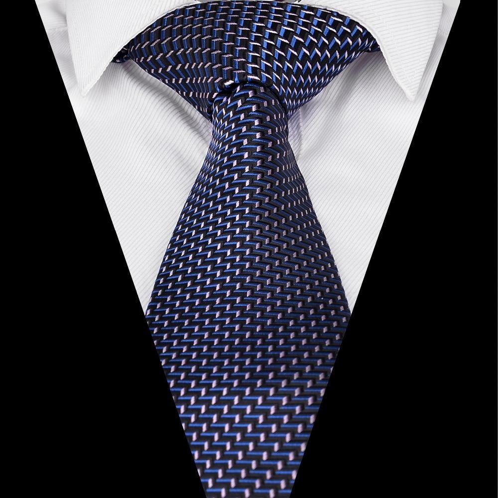 New Polyester Woven Men/'s Neck Tie set blue light blue checkered formal wedding
