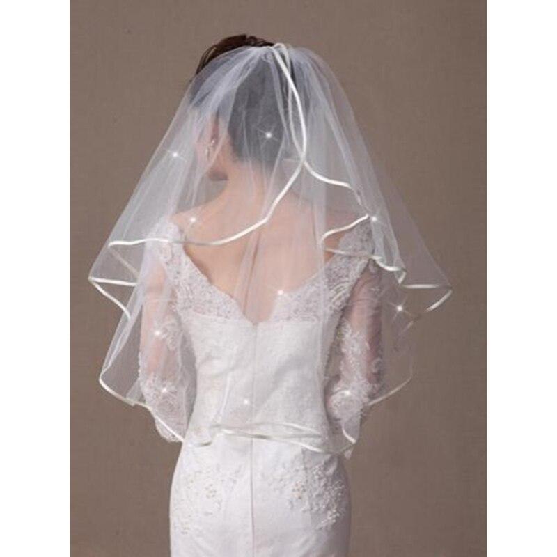 LAN TING BRIDE Uma Camada Borda com Tira Borda Enfeitada Vus de Noiva Vu CotoveloCom Estilo de Critais Espalhados 31,5 cm (80cm)