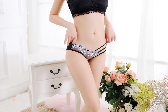 7color Gift beautiful lace leaves Women's Sexy lingerie Thongs G-string Underwear Panties Briefs Ladies T-back 1pcs/Lot wq250