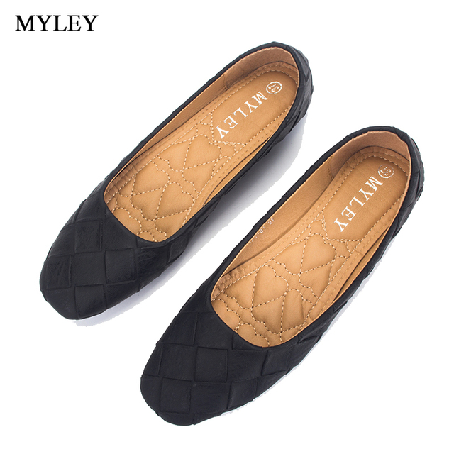MYLEY Fashion Women s Casual Square Toe Style Low Cut Soft Flat Bottom  Slip-On Shoes Ladies Black Brown Shoe debb51f84