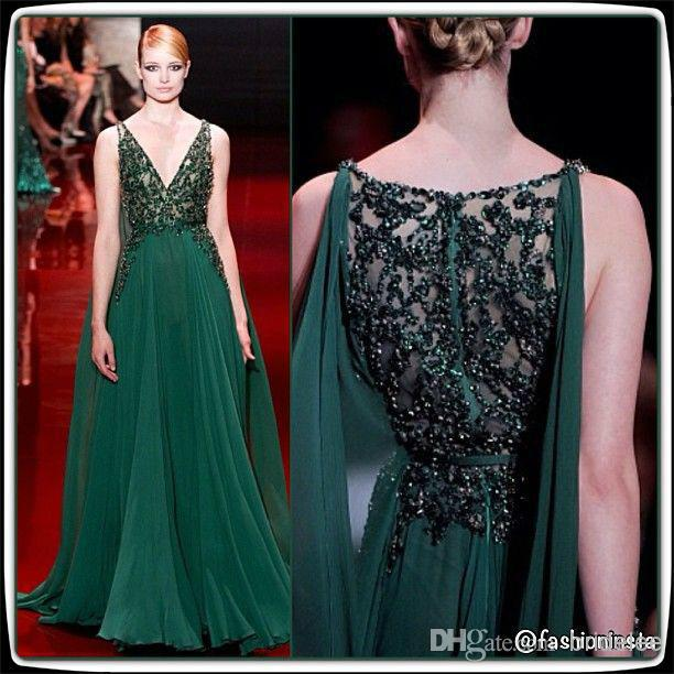 2017 Distinctive Dark Green V Neck Sleeveless Elie Saab Prom Dresses Floor Length Zipper Sequins Lique Chiffon Evening Gowns In From