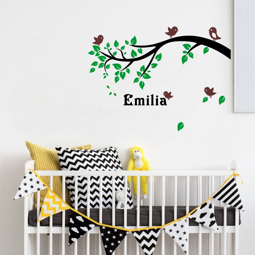 Buy custom child name nursery tree wall - Childrens bedroom wall stickers removable ...