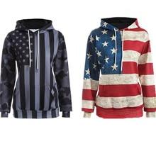 Европейский Капюшоном свитер Американская пара 3D цифровая печать флаг США отдыха личности с длинными рукавами с капюшоном свитер