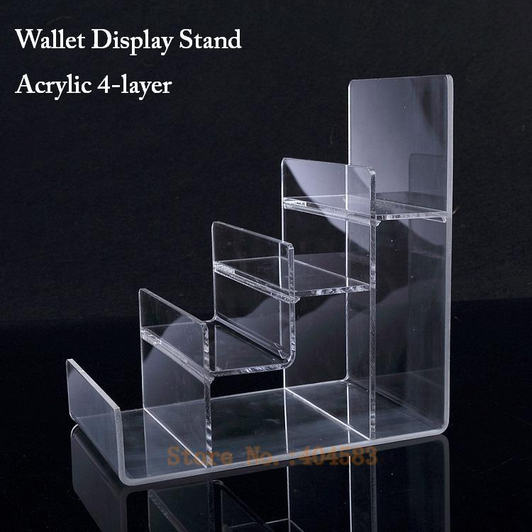 2pcs/lot Clear-view 4-layer Reinforced Acrylic Wallet Display Stand Purse Holder