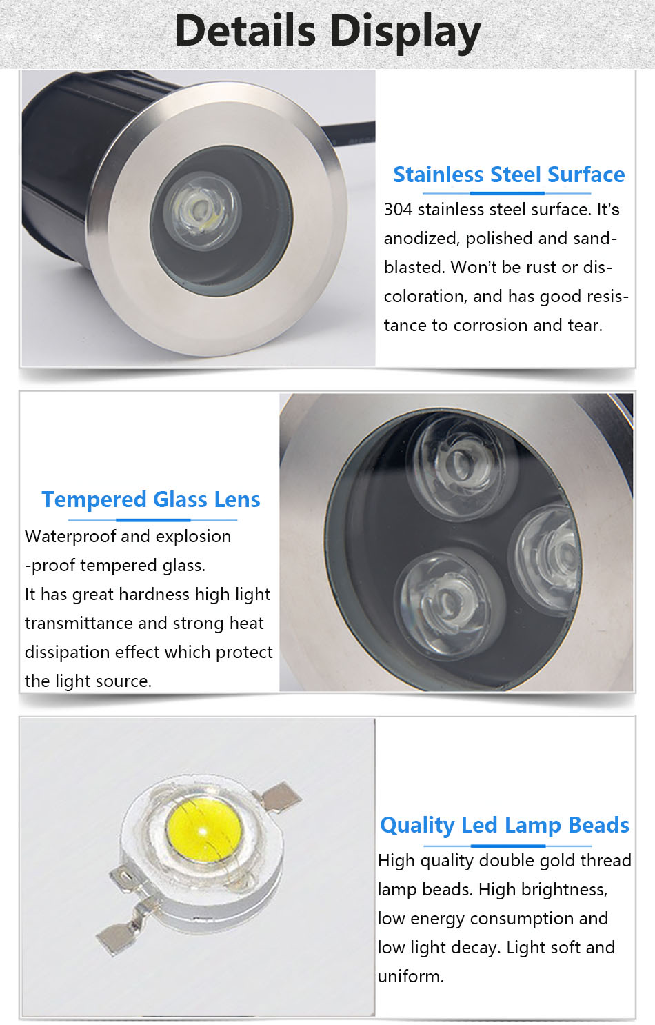 1w 3w IP68 Underground Light 6.1