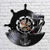 Kreative Dekorative Kunst Wanduhr Anchor Schiff Naval Kompass Retro Vinyl Record Laser Gravierte Sailors Wand Uhr Uhr