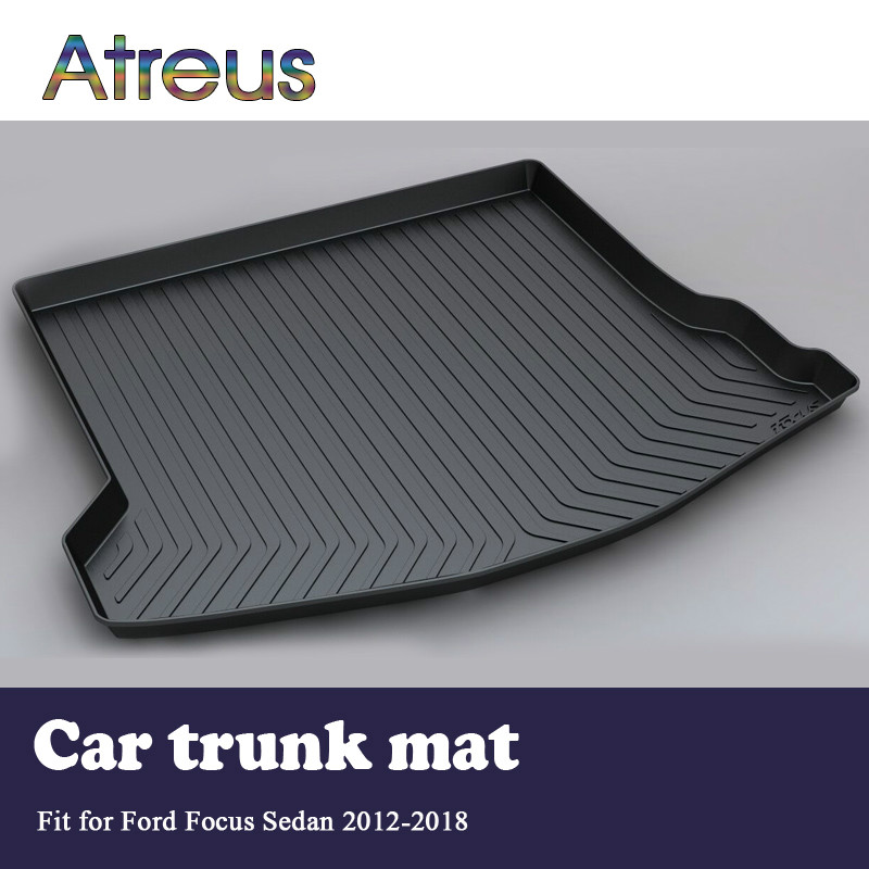 Atreus Car Rear Trunk Floor Mat Durable Carpet For Ford Focus 3 Mk3 Sedan 2012-2018 Boot Liner Tray Waterproof Anti-slip mat trunk mat for ford mondeo 2008 2014 durable waterproof luggage mats tray for dogs