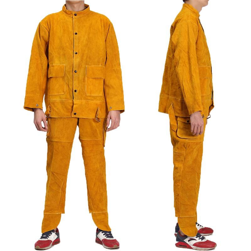 NEW One Set Leather Welding Strap Trousers & Coat Protective Clothing Apparel Suit Welder Safety Clothing